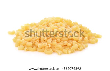 Macaroni on white background
