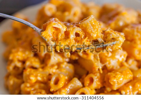 Macaroni with cheese and bread crumbs - stock photo