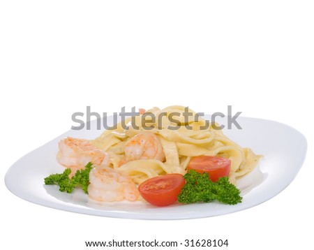 macaroni withe shrimp. ready food. - stock photo