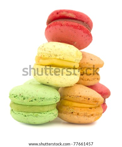 macaroon isolated on the white - stock photo