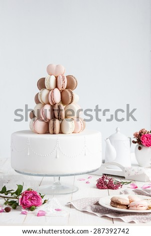 Macaroons wedding cake - stock photo