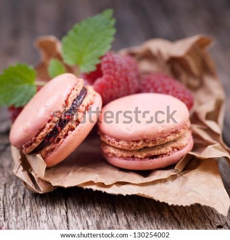 Macaroons with raspberry - stock photo