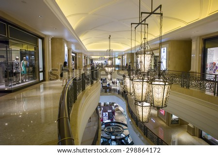 Macau, China - JUL 10: The beautiful decor in Venetian Mall, Macao on July 10, 2015.Macao is the famous shopping mall, luxury hotel and the largest casino in the world.