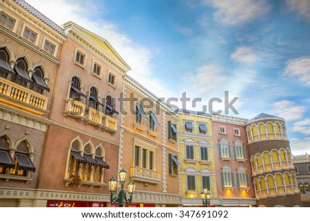 MACAU, CHINA - NOV 3, 2015: Interior of Venetian Casino in Taipa. The famous shopping mall, luxury hotel and the largest casino in the Macau. - stock photo