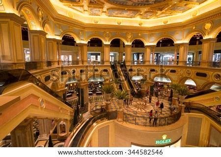 MACAU,CHINA - NOV 23:The Venetian Macao-Resort-Hotel casino on Nov 23, 2015 in Macau. This is a major tourist attraction in Macau.