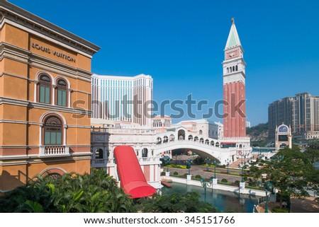 MACAU,CHINA - NOV 23:The Venetian Macao-Resort-Hotel  on Nov 23, 2015 in Macau. This is a major tourist attraction in Macau. - stock photo