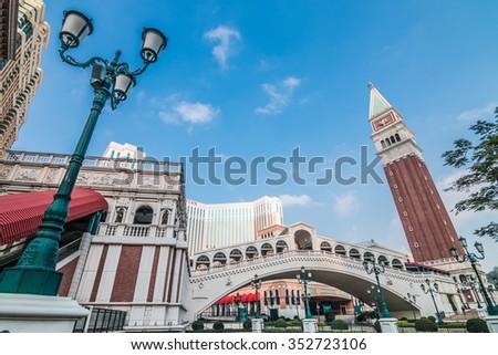 MACAU,CHINA - NOV 24:The Venetian Macao-Resort-Hotel on Nov 24, 2015 in Macau. This is a major tourist attraction in Macau. - stock photo