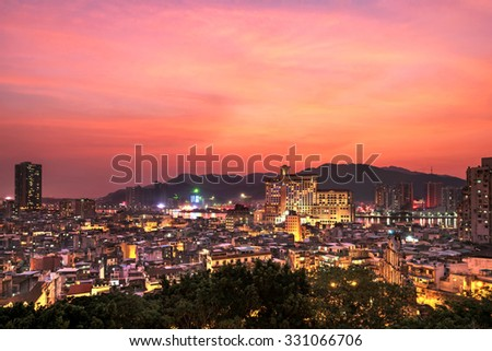 Macau downtown at Twilight