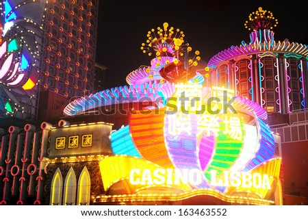 MACAU - JANUARY 22: Casino Lisboa on January 22,2013 in Macau. Macau is the gambling capital of Asia and is visited by over 25 million people every year.