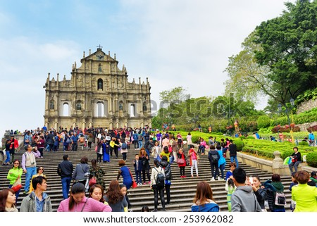 MACAU - JANUARY 30, 2015: View of the Ruins of St. Paul's Cathedral in Macau. It is a popular tourist attraction of Asia. - stock photo