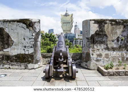 MACAU , JULY 2, 2016 : Monte fortress was built between 1617 and 1626 on the 52 metre-tall Mount Hill,located directly east of the Ruins of St. Paul's