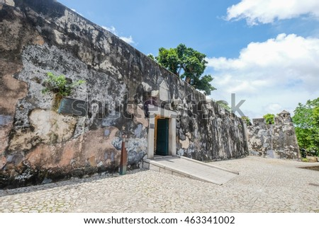 MACAU , JULY 2 : Monte fortress was built between 1617 and 1626 on the 52 metre-tall Mount Hill,located directly east of the Ruins of St. Paul's , Macau on July 2 2016.