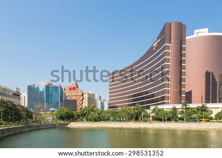 Macau, Macau - April 16 2015: The Wynn Casino and hotel was the first Las Vegas style resort to open in Asia in 2006. Macau has surpassed Las Vegas in terms of gambling revenue.