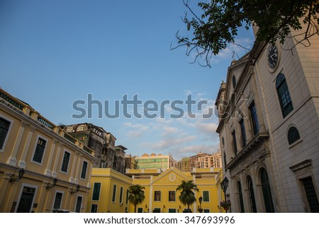 Macau - November 2, 2015: Cityscape of Macau, Located in St. Dominic's Church, Macau. It is a Historic Centre of Macau, a UNESCO World Heritage Site. - stock photo