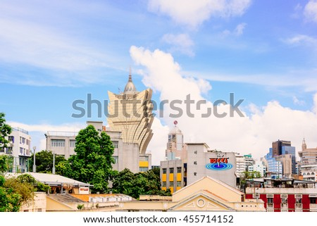 MACAU-NOVEMBER 16: Tourists visit the Historic Centre of ruined church of St Paul on November 16, 2015 in Macau. The ruined church of St Paul was inscribed on the UNESCO World Heritage List in 2005. - stock photo
