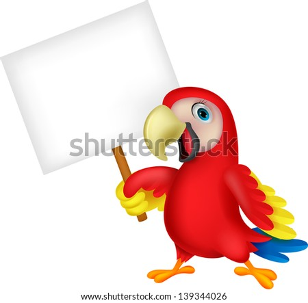 Macaw bird with blank sign - stock photo