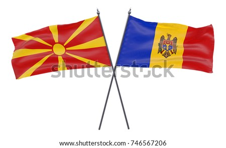 Macedonia and Moldova, two crossed flags isolated on white background. 3d image