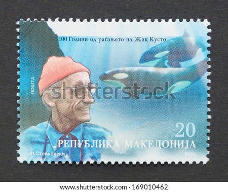 MACEDONIA - CIRCA 2010: a postage stamp printed in Macedonia showing an image of Jacques-Yves Cousteau, circa 2010.  - stock photo