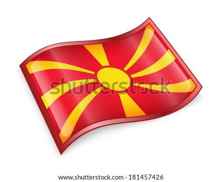 Macedonia Flag icon, isolated on white background. - stock photo