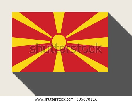 Macedonia flag in flat web design style. - stock photo