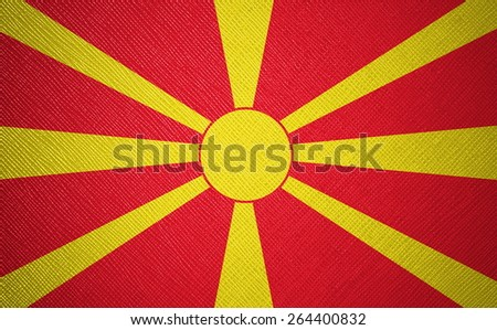 Macedonia flag leather texture - stock photo