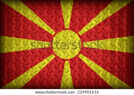 Macedonia flag pattern on the diamond metal plate texture ,vintage style - stock photo