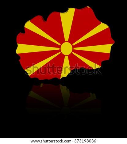 Macedonia map flag with reflection illustration - stock photo