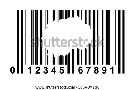 Macedonia shopping bar code isolated on white background.