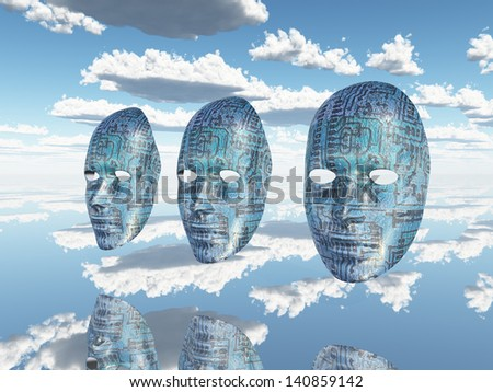 Machine faces - stock photo