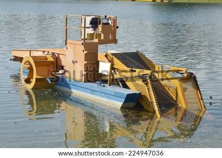 Machine for cleaning water by aquatic plants - stock photo