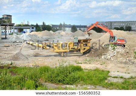 Machine for crushing stone - stock photo