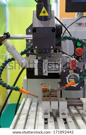Machine for laser metal processing (CNC), close-up