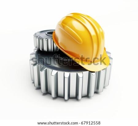machine gear construction helmet on a white background - stock photo