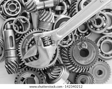 Machine gear, metal cogwheels, nuts and bolts