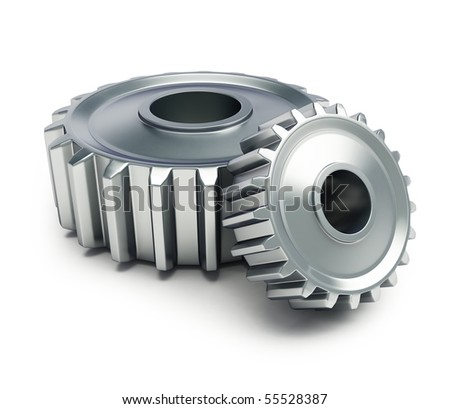 machine gear on a white background - stock photo