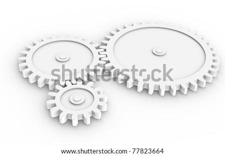 Machine Gears. 3 Machine Gears all white, sparse. - stock photo