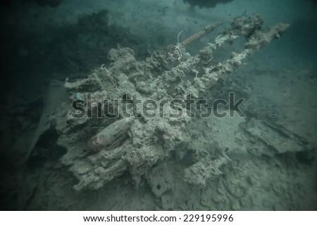 machine gun on world war II shipwreck in Coron area, Palawan, Philippines. - stock photo