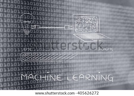 machine learning: lightbulb and laptop connected by plug, with messy binary code being processed on the screen - stock photo
