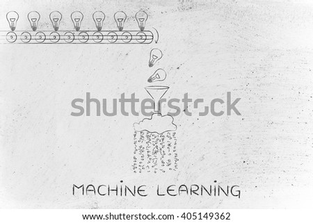 machine learning: processing ideas and knowledge into data to be spread around, with production line, funnel and cloud - stock photo