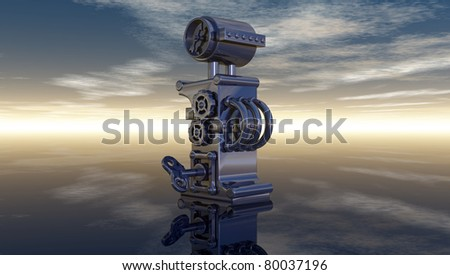 machine letter i under cloudy sky - 3d illustration