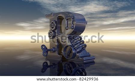 machine letter r under cloudy sky - 3d illustration - stock photo