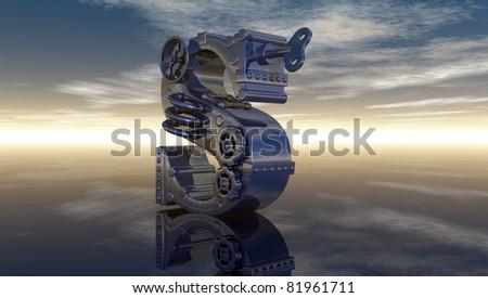 machine letter s under cloudy sky - 3d illustration - stock photo