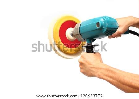 Machine polishing for car care, isolated on white background - stock photo