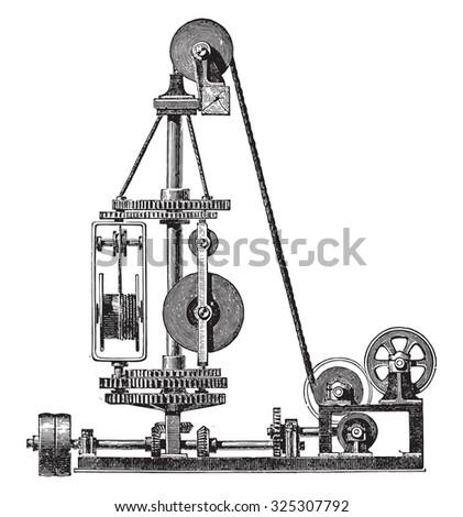 Machine wire, vintage engraved illustration. Industrial encyclopedia E.-O. Lami - 1875. - stock photo