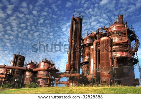 machineries and storage units in a gas industry at gas works park Seattle & Machineries Storage Units Gas Industry Gas Stock Photo (Royalty Free ...