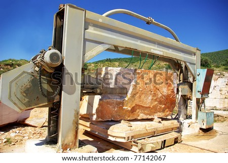 Machinery in quarry of marble extraction.