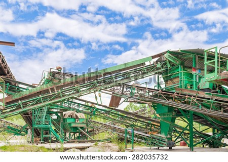 Machinery of a plant for the extraction of gravel - stock photo