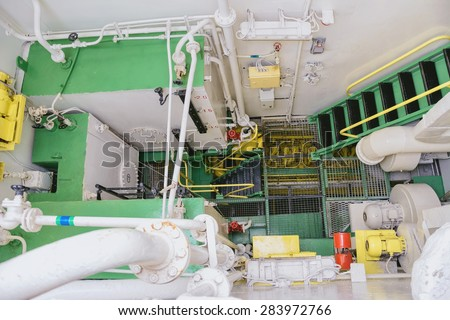 Machinery Space Of The Sailing Ship - stock photo
