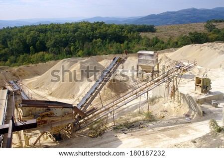 Machines for crushing and transportation stones in Quarry, Bulgaria  - stock photo
