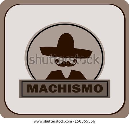 machismo banner template with sombrero - stock photo